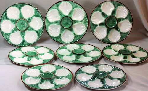 8 French Faience glazed pottery Oyster Plates