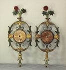 Pair  Floral Tole back plate for Wall Sconces