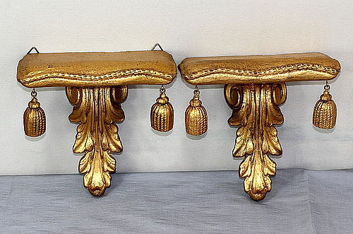 Pair Gilded Wall Display Brackets or Shelves