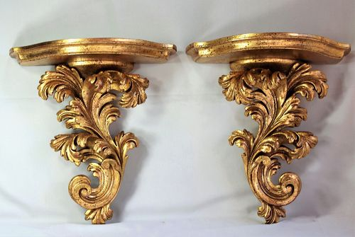 Pair European Gildt on wood Display wall Brackets or Shelves