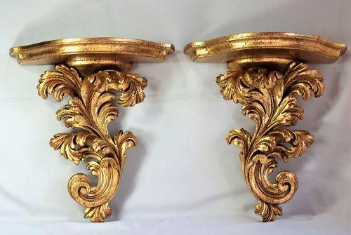 Pair European Gilded on wood Display wall Brackets or Shelves