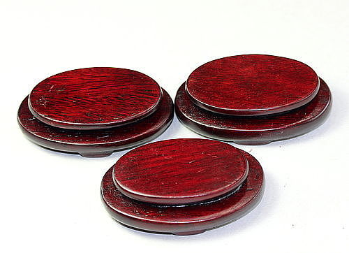 Three(3) Chinese Hardwood tiny oval shape Display Stand