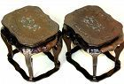 Pair Chinese Black Lacquer & Mother of Pearl inlaid Display Stands