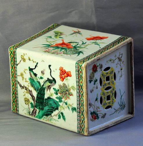 Chinese Famille Verte Porcelain Pillow, 19th C.