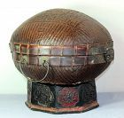 Chinese Dome top Bamboo covered Basket on stand