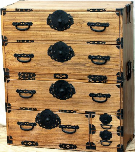 Japanese Tansu, Kiri wood 2 section tansu with black iron