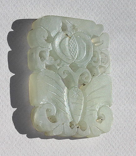 Chinese Nephrite Pendant or Plaque, carved Butterfly, 19th C.