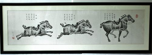 Chinese Temple Rubbing, famous 3 Horses in black with signatures