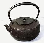 Japanese black iron Tea Pot or Tetsubin, cast with Kanji mark