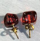 Amber Earrings, gilded silver mount