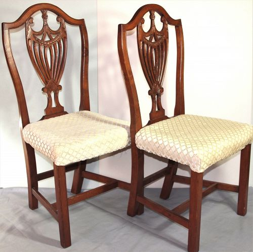 Pr. Hepplewhite Mahogany Side Chairs, Shield & Eagle back