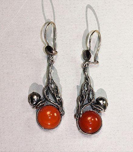 925 Sterling mount synthetic Amber Drop Earrings
