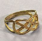 Chinese 14K Gold Ring, Eternal Knot Macrame design