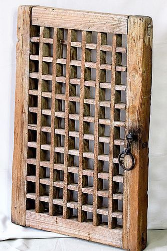 Korean Traditional Wooden Window with Black Iron handle