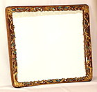 Chinese King Fisher Feather and Gold Leaf carved wood Mirror