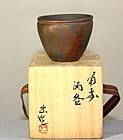 Japanese Bizen Pottery Cup Stand in original box