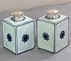 2 Chinese Blue & White square shape Porcelain Tea Caddies, Long Life
