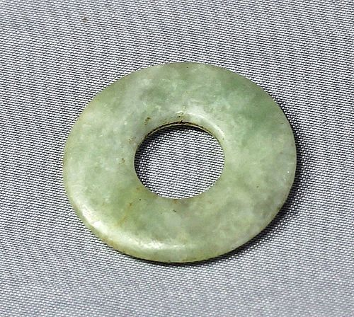 Chinese Jadeite Jade pale green Disc Pendant