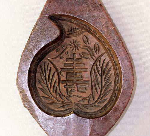 Chinese Wood Rice Cake Mold, carved Peach & Long Life
