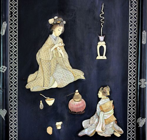 Japanese Mother of Pearl & Bone inlaid Lacquer Picture