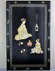 Japanese Mother of Pearl & Bone inlaid Lacquer on black panel Picture