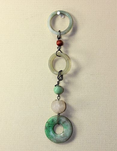 Chinese Jadeite Disc, Rings and Bead Ornament