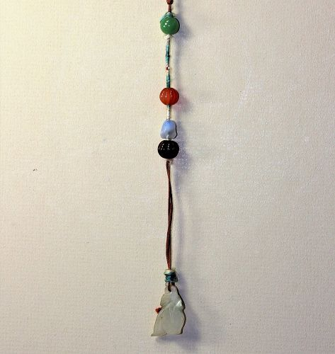 Chinese carved Jade Pendant with agate beads