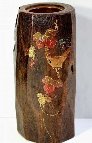 Japanese Kiri wood tall Hibachi, with Lacquered Bird