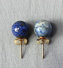 Pr. Chinese natural Lapis Lazuli Earrings, 14K gold mounting