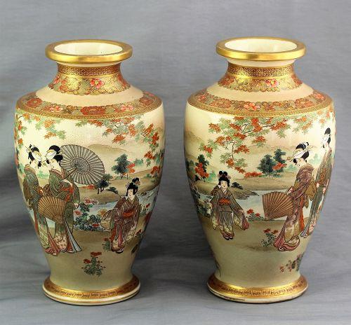 """Pair Japanese large Satsuma Vases, signed """"Kinkosan"""""""
