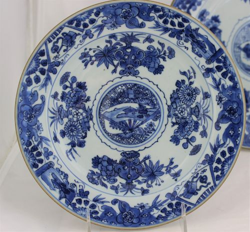 4 Chinese Export Blue & White Porcelain Plates, Qianlong period