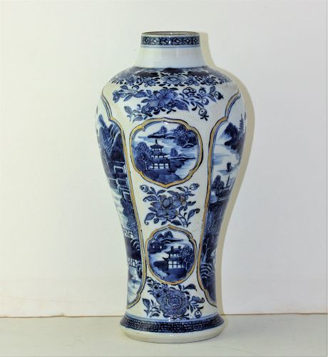 Chinese Export Nanking Blue & White Porcelain chicken skin Vase