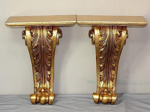 Pair Italian gilded Brackets