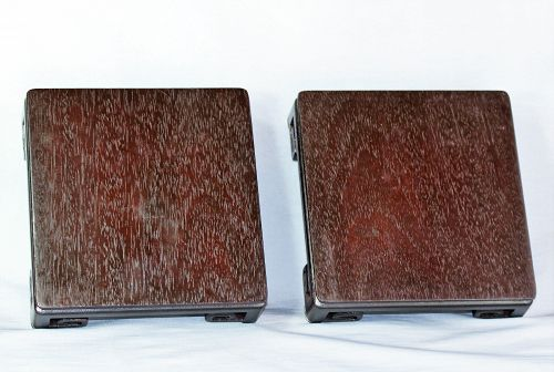 "Pair Chinese Hardwood carved square Display Stand, made in ""Hong Kong"""