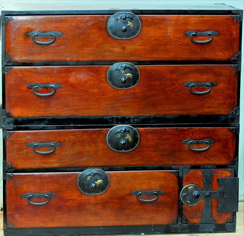 Japanese Keyaki wood 2 section Tansu, turtle and Eagle hardware