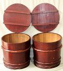 Pair Japanese Cedar Wood Storage Tubs or Barrels