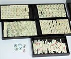 Chinese complete Bamboo and Bone Mahjongg Set in Hardwood Box