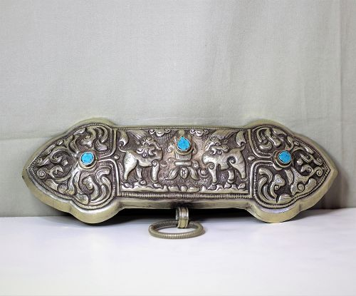 Tibetan hard Silver Lady's Belt  buckle with double Goats