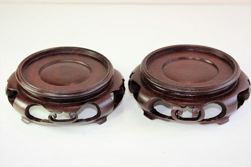 "Two(2) Chinese Hardwood round brown Display Stands, ""Hong Kong"" label"