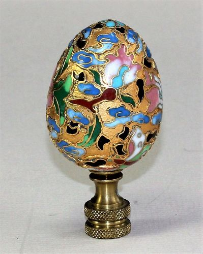 Chinese Cloisonne Lamp finial, Peony flower design