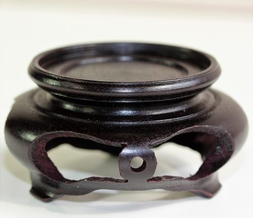 "Chinese Hardwood round dark Brown Display Stand, made in ""Hong Kong"""