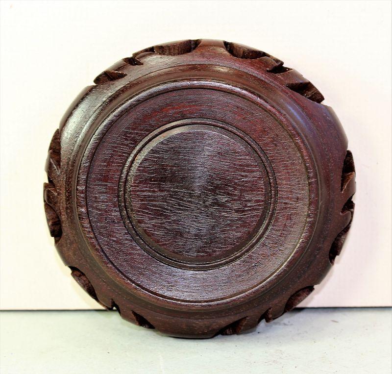 "Chinese Hardwood round brown Display Stand, made in ""Hong Kong"""