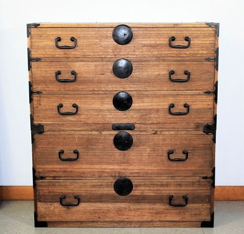 Japanese two section Kiri(Paulownia) wood Tansu, Chest on Chest