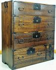 Japanese one(1) section Tansu, beautiful Cedar grain & Black Iron