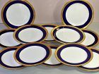 12 English Mintons Porcelain Dinner Plates, Cobalt Blue & Gold