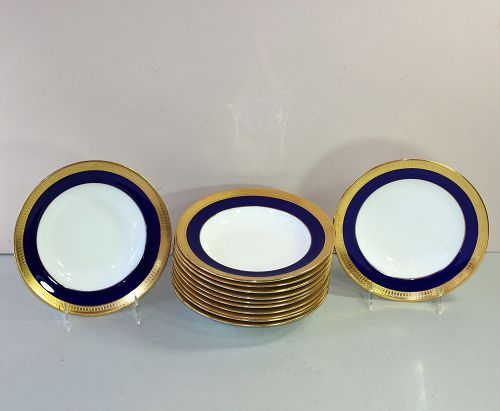 12 English Mintons Porcelain Soup Plates, Cobalt Blue & Godl