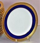 21 English Mintons Porcelain Dessert Plates, Cobalt Blue & Gold