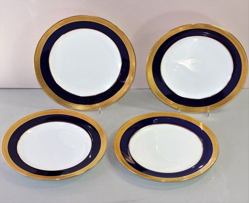 4 English Mintons Porcelain Salad Plates, Cobalt Blue & Gold