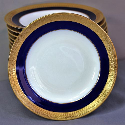 18 English Mintons Porcelain Bread & Butter Plates, Cobalt Blue & Gold