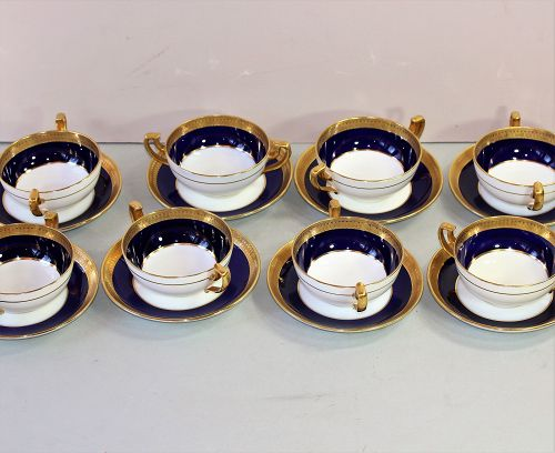 8 English Mintons Porcelain Cream Soup & saucers, Cobalt Blue & Gold